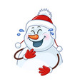 laughing snowman wearing a hat with pom poms vector image