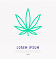 leaf marijuana thin line icon vector image