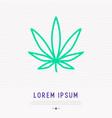 Leaf of marijuana thin line icon