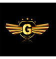 Letter G winged crests logo Alphabet logotype vector image