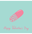 Medical pill with hearts inside Love card Blue vector image vector image