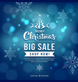 merry christmas sale blue background vector image vector image