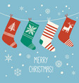 merry christmas socks christmas card cartoon vector image