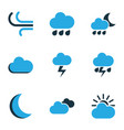 nature colored icons set collection of fog vector image vector image