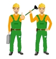 plumber holding plunger in green uniform vector image