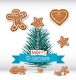 Retro Christmas Card with Branch - Tree vector image vector image