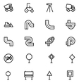 Road Outline Icons 6 vector image vector image