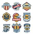 Rugby Emblem Set Flat Design vector image