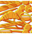 seamless bakery background with cartoon baked vector image