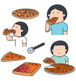 set of man eating pizza vector image vector image