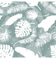 Set of palm tree leaves seamless background