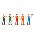 set professional workers with with spatula vector image