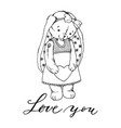 teddy bunny toy with heart coloring book vector image vector image