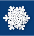 the white snowflake on a blue background vector image vector image