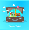 Travel concept with open suitcase card poster
