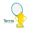trophy racket and ball tennis poster vector image vector image