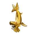 vintage golden brooch in the form of toothy shark vector image vector image