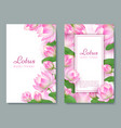 wedding card with pink lotus water flower blossom vector image vector image