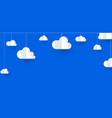 white paper decorative clouds on blue background vector image vector image