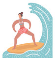 woman on surf board vector image