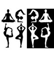 woman practicing yoga icons vector image