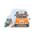 yellow school bus driver arrived at stop vector image vector image