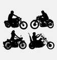 Male and female riding vintage motorcycle silhouet vector image