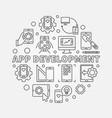 app development round in thin vector image vector image