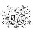 autumn rubber boots black outline doodle sketch vector image