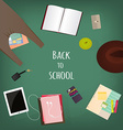 Back to school supplies Books and blackboard vector image vector image