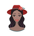 beautiful young woman smile wearing stylish hat vector image