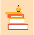 books set with woman sitting vector image vector image