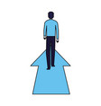 businessman standing on financial arrow vector image vector image