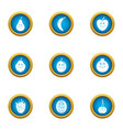 cherry icons set flat style vector image vector image
