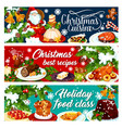 christmas dinner banner with winter holiday food vector image vector image