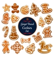 Christmas gingerbread cookie for xmas design vector image vector image