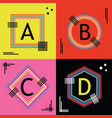 colorful capital letters a b c and d line emblems vector image vector image