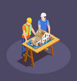 construction project isometric composition vector image vector image