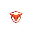 creative red shield bull logo design symbol vector image vector image