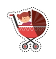 cute little girl character in baby cart vector image vector image