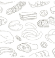 Different kinds of meat collection pattern vector image