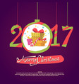 figures 2017 and merry christmas on dark vector image vector image
