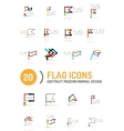 Flag icon logo set linear design vector image