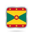 flag of grenada shiny metallic gray square button vector image vector image