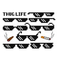 funny pixelated boss sunglasses gangster thug vector image