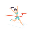 girl crossing finish line female professional vector image vector image
