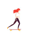 girl riding longboard on white vector image
