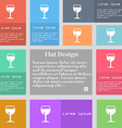 glass of wine icon sign Set of multicolored vector image