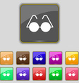Glasses icon sign Set with eleven colored buttons vector image vector image