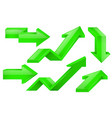 green arrows 3d icons set vector image
